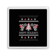 Motorcycle Santa Happy Holidays Ugly Christmas Black Background Memory Card Reader (square)  by Onesevenart