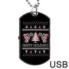 Motorcycle Santa Happy Holidays Ugly Christmas Black Background Dog Tag Usb Flash (one Side) by Onesevenart