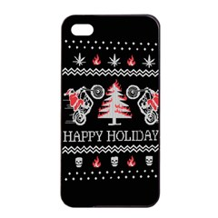 Motorcycle Santa Happy Holidays Ugly Christmas Black Background Apple Iphone 4/4s Seamless Case (black) by Onesevenart