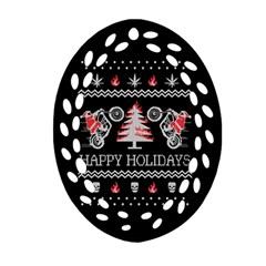 Motorcycle Santa Happy Holidays Ugly Christmas Black Background Oval Filigree Ornament (2 Side)  by Onesevenart