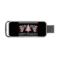 Motorcycle Santa Happy Holidays Ugly Christmas Black Background Portable Usb Flash (two Sides) by Onesevenart