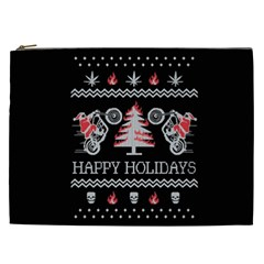 Motorcycle Santa Happy Holidays Ugly Christmas Black Background Cosmetic Bag (xxl)  by Onesevenart