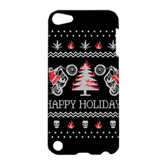 Motorcycle Santa Happy Holidays Ugly Christmas Black Background Apple Ipod Touch 5 Hardshell Case by Onesevenart