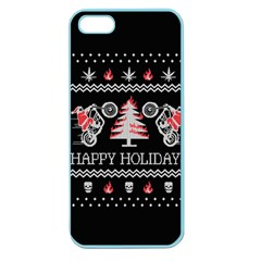 Motorcycle Santa Happy Holidays Ugly Christmas Black Background Apple Seamless Iphone 5 Case (color) by Onesevenart