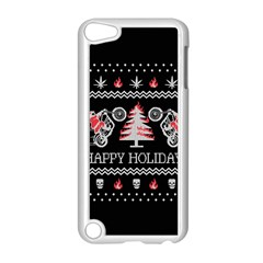 Motorcycle Santa Happy Holidays Ugly Christmas Black Background Apple Ipod Touch 5 Case (white) by Onesevenart