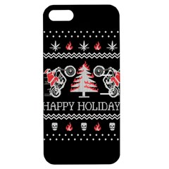 Motorcycle Santa Happy Holidays Ugly Christmas Black Background Apple Iphone 5 Hardshell Case With Stand by Onesevenart