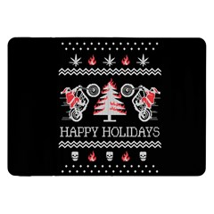 Motorcycle Santa Happy Holidays Ugly Christmas Black Background Samsung Galaxy Tab 8 9  P7300 Flip Case by Onesevenart