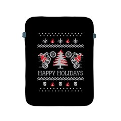 Motorcycle Santa Happy Holidays Ugly Christmas Black Background Apple Ipad 2/3/4 Protective Soft Cases by Onesevenart