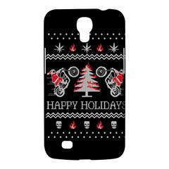 Motorcycle Santa Happy Holidays Ugly Christmas Black Background Samsung Galaxy Mega 6 3  I9200 Hardshell Case by Onesevenart