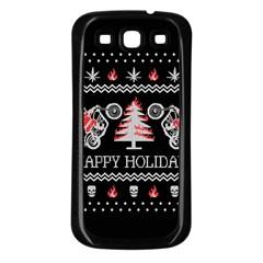 Motorcycle Santa Happy Holidays Ugly Christmas Black Background Samsung Galaxy S3 Back Case (black) by Onesevenart
