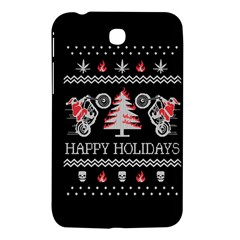 Motorcycle Santa Happy Holidays Ugly Christmas Black Background Samsung Galaxy Tab 3 (7 ) P3200 Hardshell Case  by Onesevenart