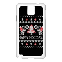 Motorcycle Santa Happy Holidays Ugly Christmas Black Background Samsung Galaxy Note 3 N9005 Case (white) by Onesevenart