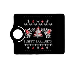 Motorcycle Santa Happy Holidays Ugly Christmas Black Background Kindle Fire Hd (2013) Flip 360 Case by Onesevenart