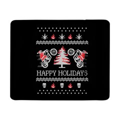 Motorcycle Santa Happy Holidays Ugly Christmas Black Background Samsung Galaxy Tab Pro 8 4  Flip Case by Onesevenart