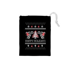 Motorcycle Santa Happy Holidays Ugly Christmas Black Background Drawstring Pouches (small)  by Onesevenart