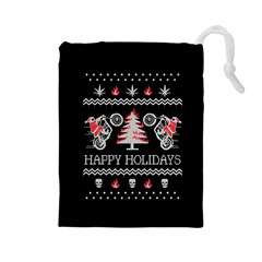 Motorcycle Santa Happy Holidays Ugly Christmas Black Background Drawstring Pouches (large)  by Onesevenart