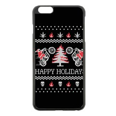 Motorcycle Santa Happy Holidays Ugly Christmas Black Background Apple Iphone 6 Plus/6s Plus Black Enamel Case by Onesevenart