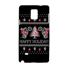 Motorcycle Santa Happy Holidays Ugly Christmas Black Background Samsung Galaxy Note 4 Hardshell Case by Onesevenart