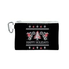 Motorcycle Santa Happy Holidays Ugly Christmas Black Background Canvas Cosmetic Bag (s) by Onesevenart