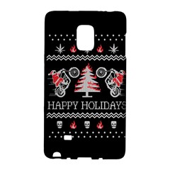 Motorcycle Santa Happy Holidays Ugly Christmas Black Background Galaxy Note Edge by Onesevenart