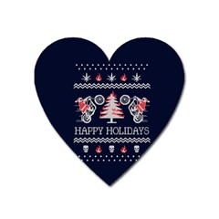 Motorcycle Santa Happy Holidays Ugly Christmas Blue Background Heart Magnet by Onesevenart