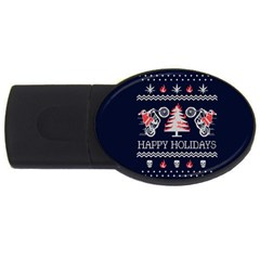 Motorcycle Santa Happy Holidays Ugly Christmas Blue Background Usb Flash Drive Oval (4 Gb)  by Onesevenart