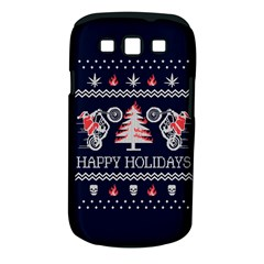 Motorcycle Santa Happy Holidays Ugly Christmas Blue Background Samsung Galaxy S Iii Classic Hardshell Case (pc+silicone) by Onesevenart