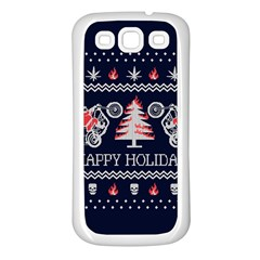 Motorcycle Santa Happy Holidays Ugly Christmas Blue Background Samsung Galaxy S3 Back Case (white) by Onesevenart