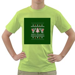 Motorcycle Santa Happy Holidays Ugly Christmas Green Background Green T Shirt by Onesevenart