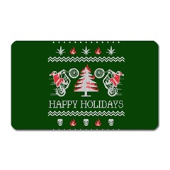 Motorcycle Santa Happy Holidays Ugly Christmas Green Background Magnet (rectangular) by Onesevenart