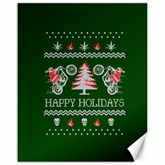 Motorcycle Santa Happy Holidays Ugly Christmas Green Background Canvas 16  x 20   by Onesevenart