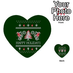Motorcycle Santa Happy Holidays Ugly Christmas Green Background Multi Purpose Cards (heart)  by Onesevenart