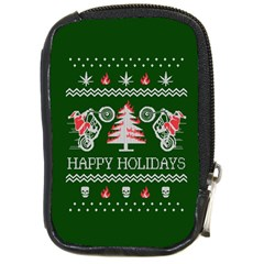 Motorcycle Santa Happy Holidays Ugly Christmas Green Background Compact Camera Cases
