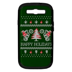 Motorcycle Santa Happy Holidays Ugly Christmas Green Background Samsung Galaxy S Iii Hardshell Case (pc+silicone) by Onesevenart