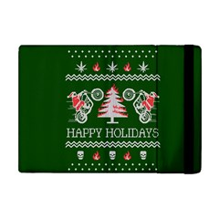 Motorcycle Santa Happy Holidays Ugly Christmas Green Background Apple Ipad Mini Flip Case by Onesevenart