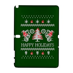 Motorcycle Santa Happy Holidays Ugly Christmas Green Background Samsung Galaxy Note 10 1 (p600) Hardshell Case by Onesevenart