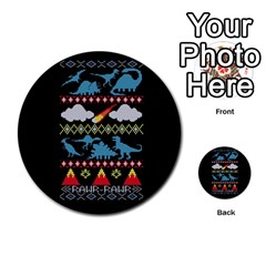 My Grandma Likes Dinosaurs Ugly Holiday Christmas Black Background Multi Purpose Cards (round)  by Onesevenart