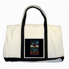 My Grandma Likes Dinosaurs Ugly Holiday Christmas Blue Background Two Tone Tote Bag by Onesevenart