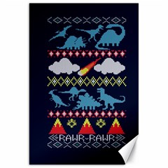 My Grandma Likes Dinosaurs Ugly Holiday Christmas Blue Background Canvas 20  X 30   by Onesevenart
