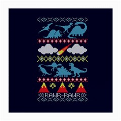 My Grandma Likes Dinosaurs Ugly Holiday Christmas Blue Background Medium Glasses Cloth (2 Side) by Onesevenart