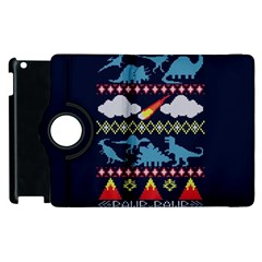 My Grandma Likes Dinosaurs Ugly Holiday Christmas Blue Background Apple Ipad 3/4 Flip 360 Case by Onesevenart