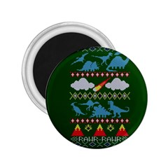 My Grandma Likes Dinosaurs Ugly Holiday Christmas Green Background 2 25  Magnets by Onesevenart