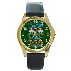 My Grandma Likes Dinosaurs Ugly Holiday Christmas Green Background Round Gold Metal Watch by Onesevenart