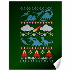 My Grandma Likes Dinosaurs Ugly Holiday Christmas Green Background Canvas 18  X 24   by Onesevenart