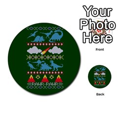 My Grandma Likes Dinosaurs Ugly Holiday Christmas Green Background Multi Purpose Cards (round)  by Onesevenart