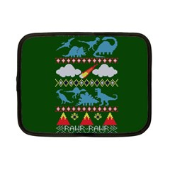 My Grandma Likes Dinosaurs Ugly Holiday Christmas Green Background Netbook Case (small)  by Onesevenart