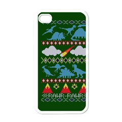 My Grandma Likes Dinosaurs Ugly Holiday Christmas Green Background Apple Iphone 4 Case (white) by Onesevenart