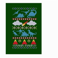 My Grandma Likes Dinosaurs Ugly Holiday Christmas Green Background Large Garden Flag (two Sides) by Onesevenart