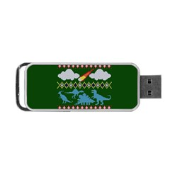 My Grandma Likes Dinosaurs Ugly Holiday Christmas Green Background Portable Usb Flash (two Sides) by Onesevenart