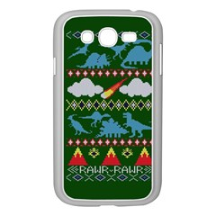My Grandma Likes Dinosaurs Ugly Holiday Christmas Green Background Samsung Galaxy Grand Duos I9082 Case (white) by Onesevenart